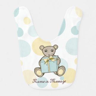 Cute Teddy Bear Boy or Girl Personalized Pastel Bib