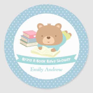 Cute Teddy Bear Bring a Book Baby Shower Classic Round Sticker