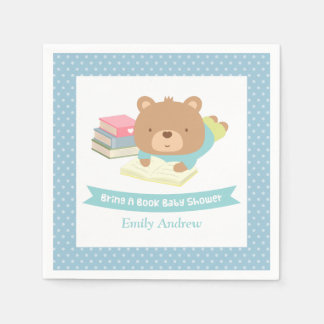 Cute Teddy Bear Bring a Book Baby Shower Paper Napkin
