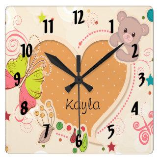 cute teddy bear butterfly heart kids square wall clock