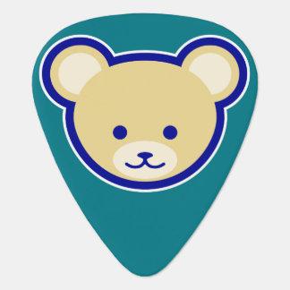 Cute Teddy Bear Cartoon beige on blue Guitar Pick