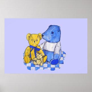 cute teddy bear children's original art poster