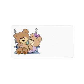 cute teddy bear couple romance on bench swing label
