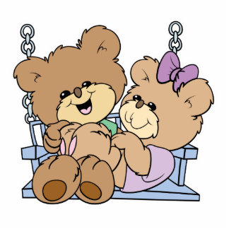 cute teddy bear couple romance on bench swing photo sculpture