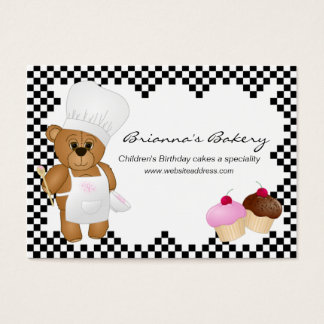 Cute Teddy Bear & Cupcakes Bakery Business Cards