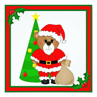 Cute Teddy Bear Dressed as Santa Claus Card