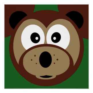 Cute Teddy Bear Face  Kids   Poster Perfect Poster