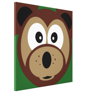 Cute Teddy Bear Face Zoo Animals Stretched Canvas Prints