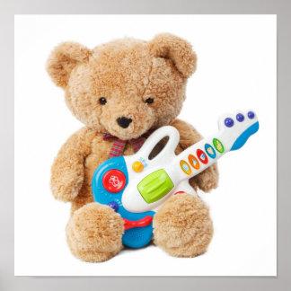 Cute Teddy Bear Guitar Poster
