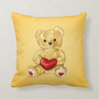 Cute Teddy Bear Hypnotist Holding a Heart Yellow Throw Pillow