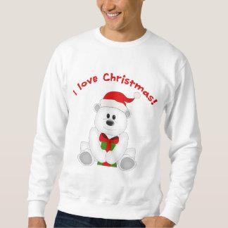 Cute Teddy Bear I Love Christmas Art Sweatshirt