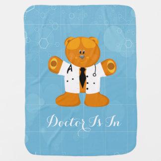 Cute Teddy-Bear In Doctors Uniform Swaddle Blankets