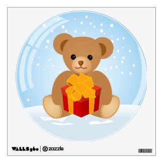 Cute Teddy Bear inside Christmas Snowball Wall Sticker