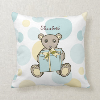Cute Teddy Bear Kids Cartoon Personalized Name Throw Pillow