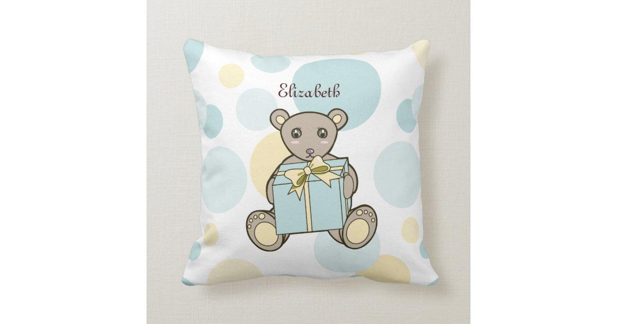 Cute Teddy Bear Kids Cartoon Personalized Name Throw Pillow Zazzle