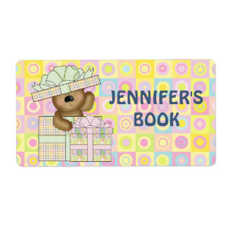 Cute Teddy Bear on pastel background book plate