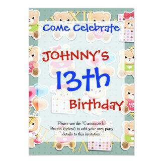 """Cute teddy bear Pattern on green background 5"""" X 7"""" Invitation Card"""