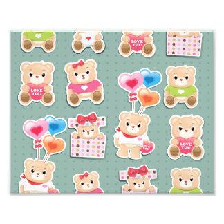 Cute teddy bear Pattern on green background Photo