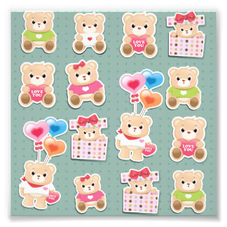 Cute teddy bear Pattern on green background Photographic Print