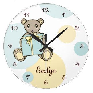 Cute Teddy Bear Personalized Kids Name Pastel Clock