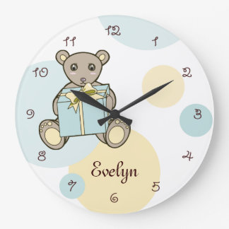 Cute Teddy Bear Personalized Kids Name Pastel Large Clock