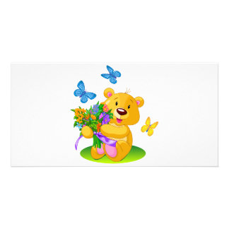 Cute teddy bear photo greeting card