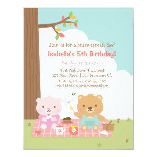 "Cute Teddy Bear Picnic Outdoor Kids Birthday Party 4.25"" X 5.5"" Invitation Card"