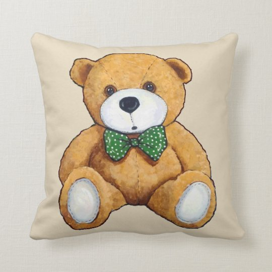 Cute Teddy Bear, Polka Dot Bow Tie, Original Art Throw Pillow