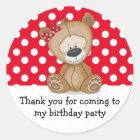 Cute Teddy Bear Polka Dots Birthday Thank You Classic Round Sticker
