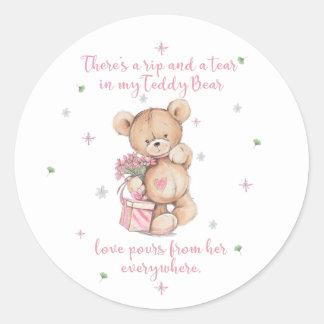 Cute Teddy Bear Quote Classic Round Sticker