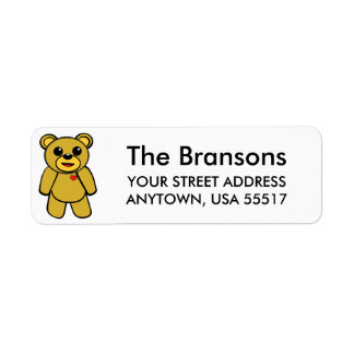 Cute Teddy Bear Return Address Label