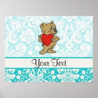 Cute Teddy Bear; Teal Print