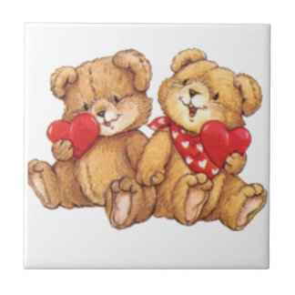 Cute Teddy Bear Valentine Couple Ceramic Tile
