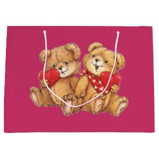 Cute Teddy Bear Valentine Couple Large Gift Bag