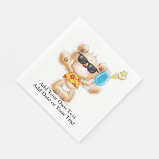 Cute Teddy Bear With Cocktail and Sunglasses Disposable Napkin