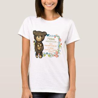 Cute Teddy Bear with Floral Designs Baby Birth T-Shirt