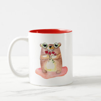 Cute Teddy Bear with Flowers Collectible Two-Tone Coffee Mug
