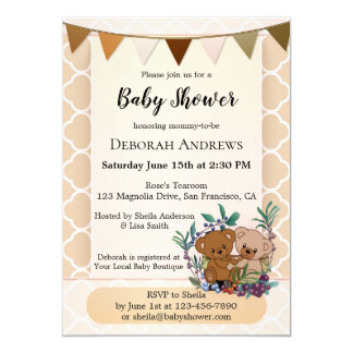 Cute Teddy Bears Baby Shower Invitation