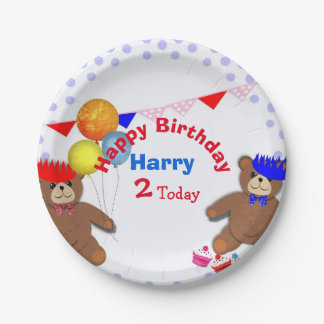 Cute Teddy Bears Picnic Fun Kids Birthday Party Paper Plate