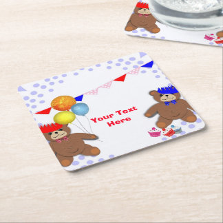 Cute Teddy Bears Picnic Fun Kids Birthday Party Square Paper Coaster