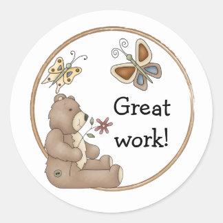 Cute teddy design border classic round sticker