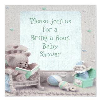 Cute Teddy Reading Bring a Book Baby Shower Card