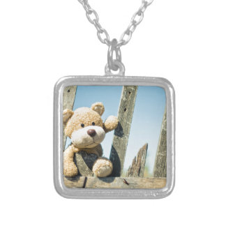 Cute Teddy Silver Plated Necklace