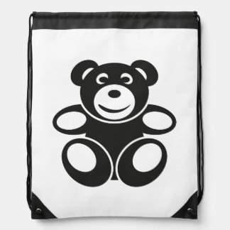 Cute Teddy with a Smile Drawstring Backpacks