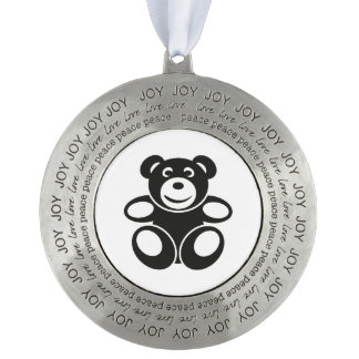 Cute Teddy with a Smile Round Pewter Ornament