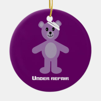 Cute TeddyBear Under Repair Recovery Anniversary Round Ceramic Ornament