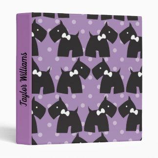 Cute Terriers Purple polka dots Binder