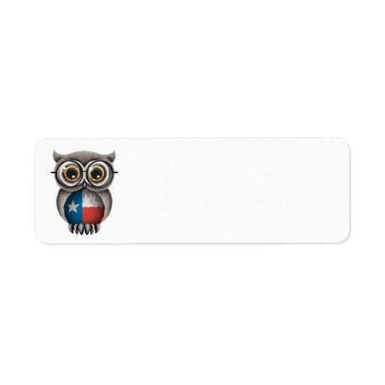 Cute Texas Flag Owl Wearing Glasses Return Address Label
