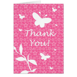 Cute Thank You Card Pink Flowers and Butterflies
