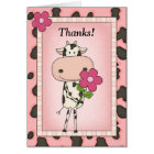 Cute Thank You - Cow & Flower Card